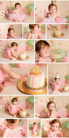 Birthday Princess (pink and gold vintage inspired cake smash) >> Nicole Israel Photography Baby Cake Smash, 1st Birthday Cake Smash, Baby Girl First Birthday, Princess Birthday, Smash Cakes, First Birthday Photography, 1st Birthday Photos, Birthday Ideas, Cake Smash Photography