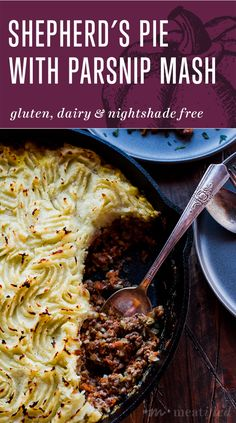 This nightshade free twist on the classic Shepherd's Pie from https://meatified.com has a topping of white sweet potatoes and parsnips that doesn't leave you missing the traditional potatoes. Perfect comfort food that you can serve straight from the skillet!