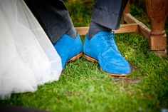 Blue wedding shoes groom