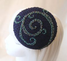 "Navy Blue Beaded Fascinator: ""Waves"" by SilverhillCreative on Etsy, (sold)"
