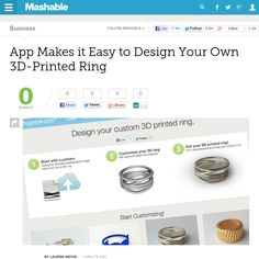 http://mashable.com/2013/05/29/3d-printed-ring-app-shapeways/ App Makes it Easy to Design Your Own 3D-Printed Ring   #Indiegogo #fundraising http://igg.me/at/tn5/