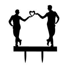 Mr & Mr Cake Topper Gay Black Acrylic Men Love by ForeverAfterUK