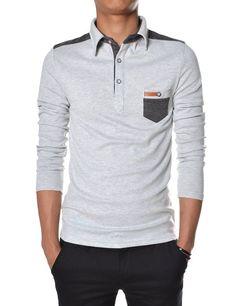 ad06d4482d608 TheLees Men s Slim Fit V-neck Long Sleeve Plain TShirt