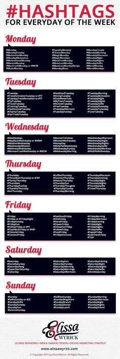 [INFOGRAPHIC] Hashtags for Everyday of the Week—Cheat Sheet; Details>