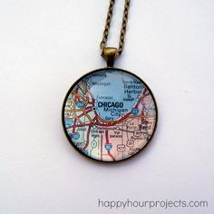 Glass Map Necklace - You could make one for each of the cities you've lived in, or visited. Charm Bracelet, too Map Crafts, Cute Crafts, Resin Crafts, Map Necklace, Glass Necklace, Beaded Necklace, Origami, Necklace Tutorial, Disney Crafts