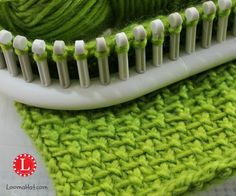 Linen Stitch on a Knitting Loom, Picture, Text and Video Tutorial. Works-up nicely with just 2 stitches. Easy for Beginners. Look Great for Men or Women