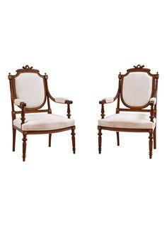 Pair of French Louis XVI Style Walnut Armchairs   The HighBoy   blog.thehighboy.com