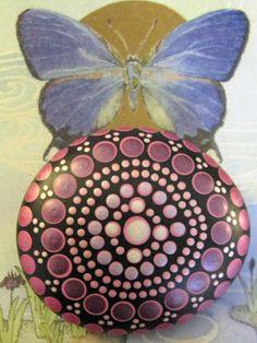 "Mandala Stone Hand Painted River Rock ~ Energy ~ Meditation ""DAISY"" Crown Chakra Metallic Jewel Dot Painting by WrenStones on Etsy"