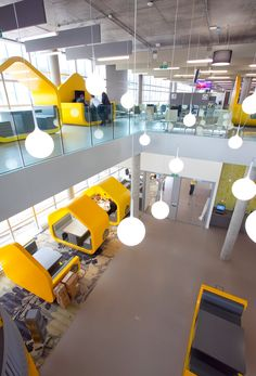 An inside view of The Hub, a state-of-the-art building for our students. Office Space Design, Modern Office Design, Workplace Design, Library Design, University Interior Design, Interior Design Classes, Office Interior Design, School Building Design, Coventry University