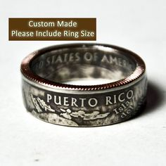 Handcrafted Coin Ring from TheRingTree. Custom made from a PuertoRico quarter. Anniversary gift for Steven @ Vow Renewal<3