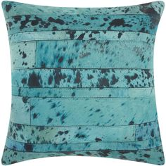 Mina Victory Natural Leather and Hide Acid Wash Turquoise Throw Pillow by Nourison (20 x 20-inch)