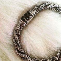 John Hardy Palu Lava Sterling Silver Twist Authentic. Never worn. Black sapphires. Engraved, secure clasp. John Hardy Jewelry Bracelets