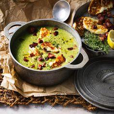 Zucchini & Chorizo Soup With Haloumi