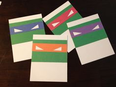 Easy, cheap DIY Teenage Mutant Ninja Turtles (TMNT) Thank you/invite cards.  White card stock, green, red, blue, orange & purple construction paper.