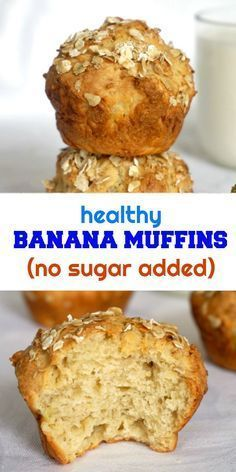 Healthy Snacks For Kids Healthy Banana Muffins, a delicious afterschool snack for older kids, but also great for babies and toddlers. The muffins have no refined sugar added, their sweetness coming from the mashed banana. Healthy Snacks For Kids, Healthy Baking, Healthy Muffins For Toddlers, Healthy Afterschool Snacks, Muffins For Babies, Kid Muffins, Baby Food Recipes, Gourmet Recipes, Desserts Sains