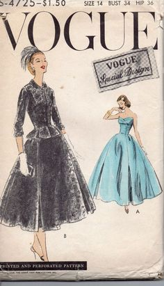 Vintage 1958  Vogue Special Design Dress Pattern Size 14     #4725 UC FF sld 159.5+2.5 11bds 2/25/15