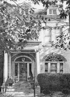 One of a kind drawing of your house rendered in pen and ink.