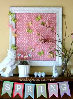 easter decorating round up, easter decorations, fireplaces mantels, patriotic decor ideas, seasonal holiday d cor, wreaths, Pretty Spring Mantel from Nest of Posies com