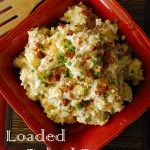 This loaded baked potato salad recipe is the best! Tastes just like your favorite baked potato with sour cream, cheese, bacon and green onions. Kid friendly