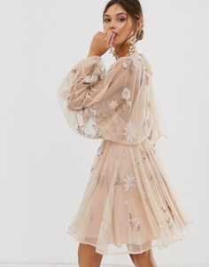 Buy ASOS EDITION floral beaded mesh dress with balloon sleeve at ASOS. Get the latest trends with ASOS now. Dresses Short, Dance Dresses, Prom Dresses, Formal Dresses, Elegant Dresses, Cute Dresses, Beautiful Dresses, Cute Outfits, Mesh Dress