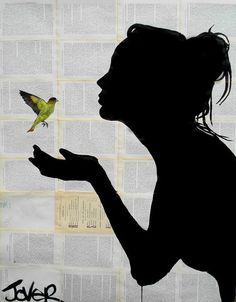 GIRL WITH YELLOW BIRD BY LOUI JOVER