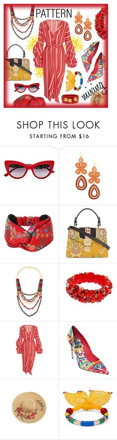 """""""Pattern Mixing: Head to Toe!"""" by style-queen-kc-nigz ❤ liked on Polyvore featuring Dolce&Gabbana, WithChic, Gucci, Devon Leigh, Johanna Ortiz, Rosantica and Mark Davis"""