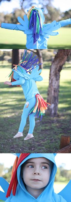 megan nielsen design diary: the rainbow dash costume. My kid loves My Little Pony and this is her fave character. I bet she would gladly add this to the dress-up bin.