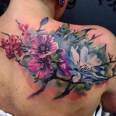 Back Tattoo Women Upper, Upper Back Tattoos, Girl Back Tattoos, Floral Back Tattoos, Feminine Tattoos, Flower Tattoos, Backpiece Tattoo, Arm Tattoo, Sleeve Tattoos
