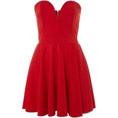 tfnc Halo strapless mini dress (37 AUD) ❤ liked on Polyvore featuring dresses, vestidos, robe, short dresses, red, red dress, sleeveless dress, short strapless dresses, red strapless dress and short red dress