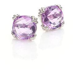 Anzie Women's Dew Drop Cluster Amethyst Stud Earrings ($275) ❤ liked on Polyvore featuring jewelry, earrings, light purple, studded jewelry, earring jewelry, anzie jewelry, amethyst jewelry and post back earrings