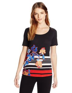 Desigual Women's Knitted T-Shirt Short Sleeve 43 >> Details can be found  : Fashion