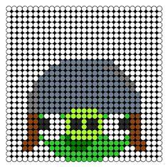 Angry Birds Helmet Pig  Perler Bead Pattern