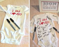 Make a Guest Book Onesie | Click Pic for 35 DIY Baby Shower Ideas for Girls | DIY Baby Shower Food Ideas for Girls