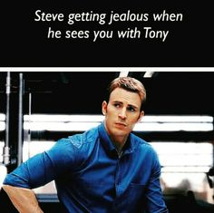 "I sigh and wrap my arms around Steve. ""You're my boyfriend babe. Tony is just a friend. I'm not going anywhere."" I say kissing his shoulder."