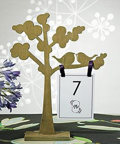 "Wooden Die-cut Trees with ""Love Birds"" Silhouette"