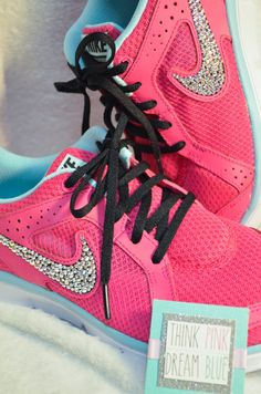 Such a fun statement at the gym! Custom Crystalized Shoes by Think Pink Dream Blue