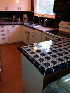 Tiled kitchen counter
