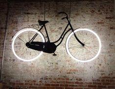 Lampe Neon Bicycle at Houndstooth Road in Decatur, Georgia Unique Lighting, Neon Lighting, Interior Lighting, Home Lighting, Lighting Design, Lighting Ideas, Basement Lighting, Vitrine Design, Deco Originale