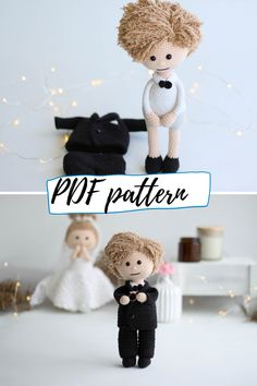 Crocher pattern bundle - boy doll and girl doll + their wedding outfits. 4 patterns, plus girl has 11 more outfits available! Crochet Doll Pattern, Crochet Toys Patterns, Stuffed Toys Patterns, Boy Doll, Girl Dolls, Project Yourself, Make It Yourself, Crochet Wedding, Types Of Yarn