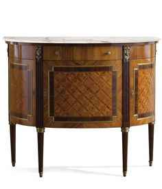 luxury Italian firniture - Louis XVI style demilune cabinet with rosewood and palissander inlay and Calacatta gold marble top