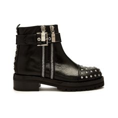 Alexander McQueen Stud-embellished leather biker boots (€1.235) ❤ liked on Polyvore featuring shoes, boots, black studded boots, leather biker boots, black leather shoes, biker boots and leather cap toe boots