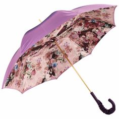 Purple Floral Double Canopy Luxury Umbrella by Pasotti - Brolliesgalore