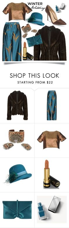 """""""Winter Wedding"""" by queenofsienna ❤ liked on Polyvore featuring Jean-Paul Gaultier, Glamorous, Overland Sheepskin Co., Gucci, VBH, Burberry, Imagine by Vince Camuto and winterwedding"""