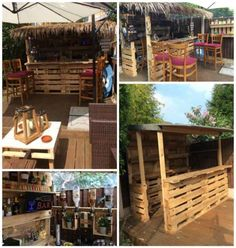 Outrageous Pallet Bar Out of 12 Reclaimed Pallets Outdoor Pallet Bar, Outdoor Pallet Projects, Pallet Lounge, Pallet Ideas, Pallet Benches, Pallet Couch, Pallet Tables, Diy Projects, Pallet Crafts