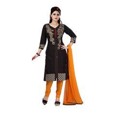 Black Silk Indian #Churidar Kameez With Dupatta #Salwar #Dress