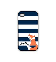 Fox iPhone Case Navy Striped iPhone Woodland Animal Case with Personalization. $18.00, via Etsy.