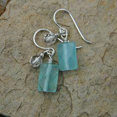 Aqua earrings beaded jewelry ice blue winter wedding bridesmaid earrings light blue icy blue handmade earrings. $12.00, via Etsy.