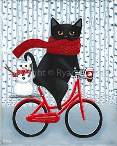 Winter and Coffee Bicycle Ride Original Black Cat Folk Art Painting - Illustrationen - Katzen / Cat I Love Cats, Cool Cats, Crazy Cats, Puppies And Kitties, Cats And Kittens, Dogs, Black Cat Art, Black Cats, Photo Chat