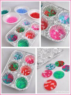 BBQ bead ornaments in cupcake tins DIY