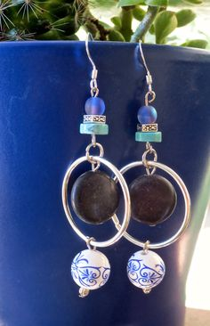 Gemstone Glass and Ceramic Dangly Earrings with by maybirdjewelry, $18.00